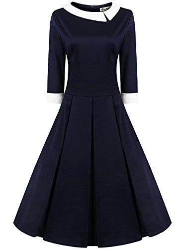 3 Pinup Women's Premium Sleeve Vintage Style Navy Rockabilly 4 ReoRia 50s Dress Blue dtRqxwq0