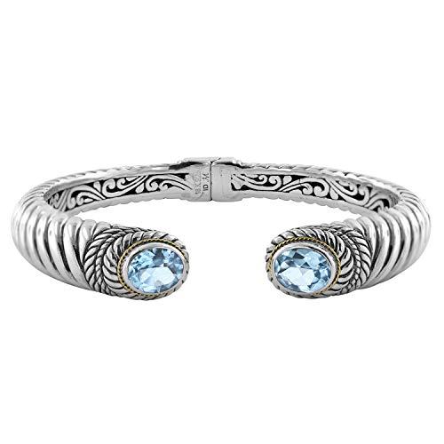 Robert Manse Designs Bali RoManse Blue Topaz Sterling Silver and 18K Gold Hinged Bracelet
