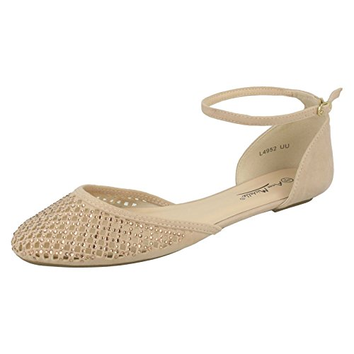 Ladies Anne Michelle Flat Shoes Style - L4952 Nude