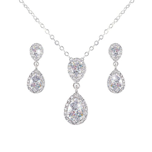 EVER FAITH Silver-Tone Prong CZ Wedding 2 Tear Drop Necklace Earrings Set Clear