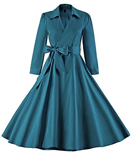 Tecrio Women Vintage V-Neck 3/4 Sleeve 50s 60s Rockabilly Pinup Evening Dress S Dark - Inspired Fashion 60s