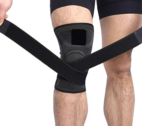 Knee Compression Sleeve with Pressure Strap 3D Weaving Pressurization Professional Protective