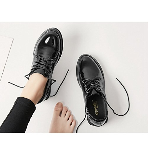 Hoxekle Fashion Womens Perforated Lace/Silver Edge/Wingtip Oxford Shoes/Vintage Oxford Shoes White Black Black hzVkW