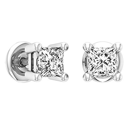 0.50 Princess Cut Diamond (0.50 Carat (ctw) 10K White Gold Princess Cut White Diamond Ladies Stud Earrings 1/2 CT)