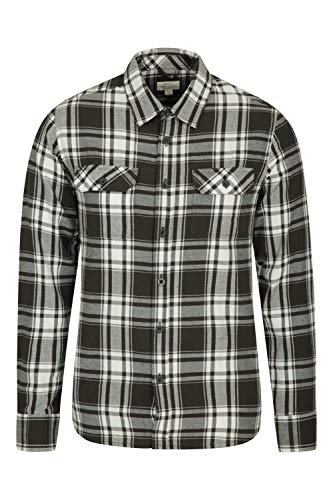 Mountain Warehouse Trace Mens Flannel Long Sleeve Shirt – 100% Cotton Checks Shirt, Lightweight, Breathable, Casual…
