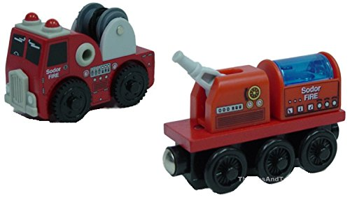 (Thomas Wooden Railway - Fire Brigade Truck AND Train - Loose Brand New)