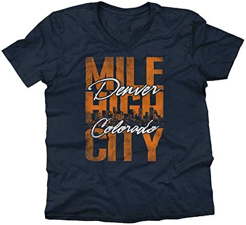 GNKJYY-T Denver Colorado Mile High City Souvenir CO Cuello en V Camiseta: Amazon.es: Ropa y accesorios