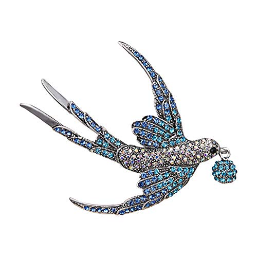 Brooch Pin, gLoaSublim Fashion Women Rhinestone Swallow Bird Collar Brooch Pin Lapel Clothes Jewelry - Blue