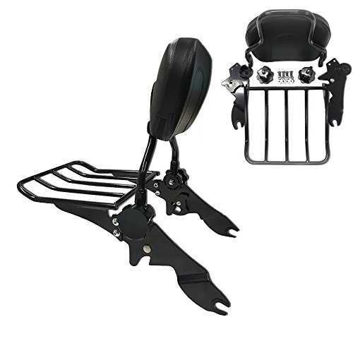 Detachables and Adjustable Backrest Sissy Bar with Luggage Rack for Harley Davidson Touring Models 2009 and up (Matte - Bar Inch 11 Pad Sissy