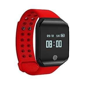 MXueei Relojes inteligentes ZfgG Ritmo cardíaco Pulsera Salud de la Salud Bluetooth Oxígeno de la Sangre Deportes Reloj Impermeable Rojo Asistente de Vida: ...