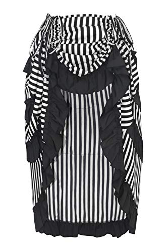 Charmian Women's Steampunk Victorian Gothic Cosplay Costume Stripe High Low Skirt Black/White Large ()