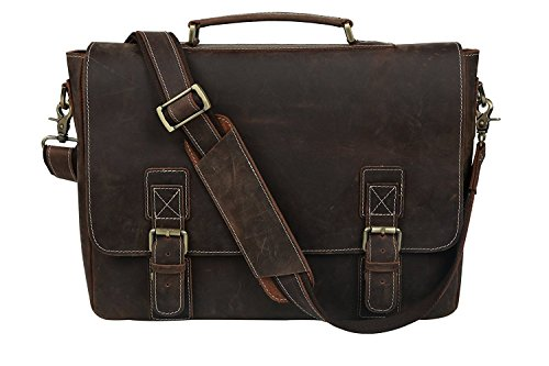 Leather Satchel Briefcase, 16'' Laptop Messenger Shoulder Bag Tote for Men by UBAYMAX