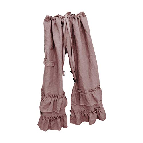 (JOFOW Wide Leg Pants for Women Solid Ruffle Casual Loose Long Pajamas High Waist Straight Drawstring Fashion Gift Trousers (3XL,Dusty Pink))