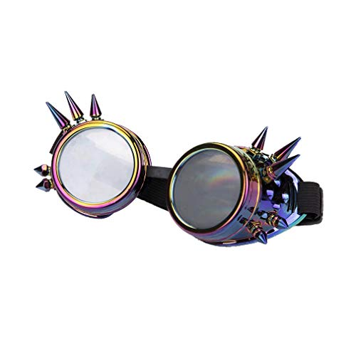 Halloween Party Vintage Steampunk Goggles Kaleidoscope Rave Glasses Diffraction Lens -