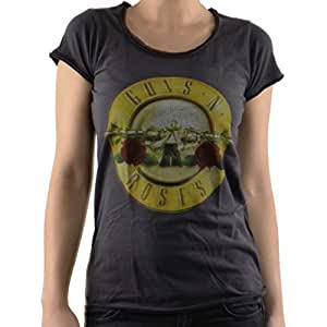 Camiseta de mujer de Guns N Roses logo Drum Vintage Gris (S a L) de Amplified gris gris medium