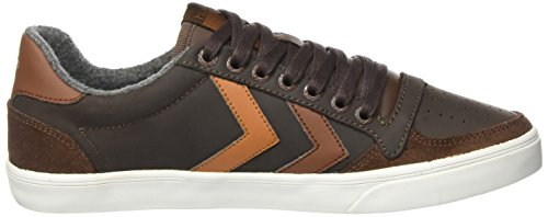 Hummel Sneaker Flat Unisex Adulto - Slim Stadil Duo Oiled Low - Scarpa In Pelle E Pelle Scamosciata - Scarpa Casual Fodera Calda - Sneaker Div. Colori Marrone (castagna)