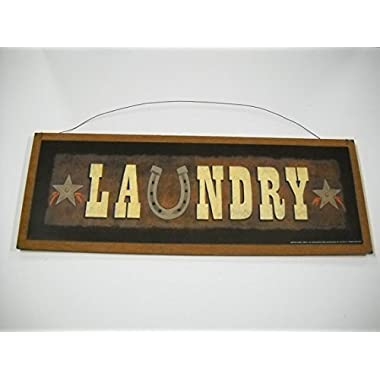 Laundry Room Country Western Wooden Wall Art Sign Horse Shoe 5x11