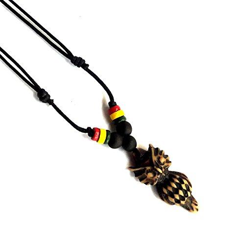 Owl Hemp Color Black Wood Beads Owl Rasta Necklace Hemp Pendant Necklace Lucky Owl Necklace (Owl Hemp)