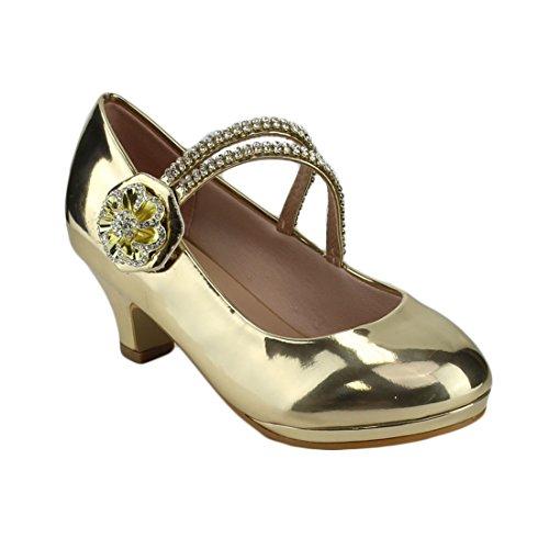 Heel Platform Chunky Gold Link Wrapped Janes Mary Flower FP34 Girl's Rhinestone nAHYqO