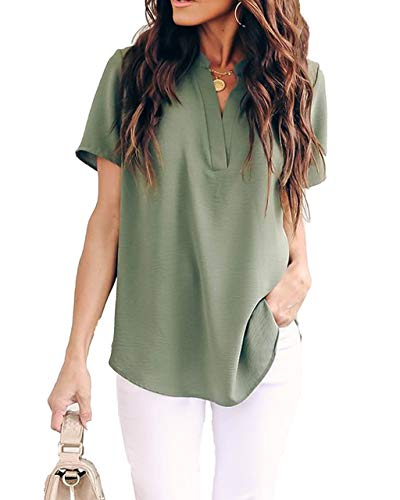 Allimy Women Summer Casual Split V Neckline Chiffon Blouses Loose Tunic Short Sleeve Tops