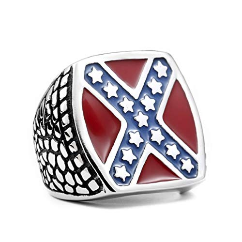 Sping Jewelry American Independence Day US Flag Rign Flat Stars and Stripes Red and Blue Enamel Titanium Steel Biker Band