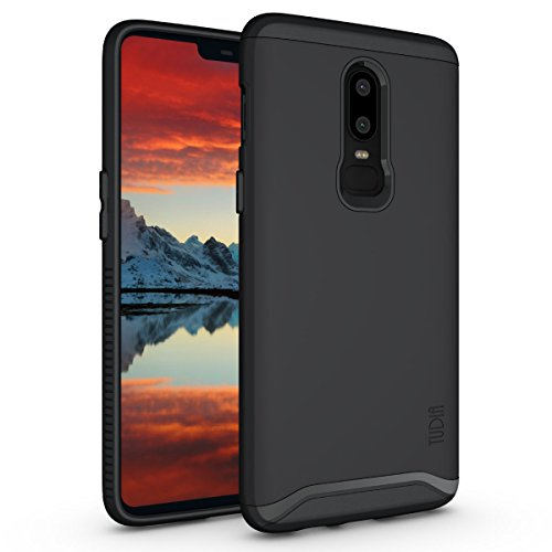 OnePlus 6 Case, TUDIA Slim-Fit Heavy Duty [Merge] Extreme Protection/Rugged but Slim Dual Layer Case for OnePlus 6 (Matte Black)