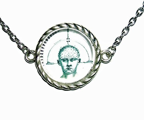 CRANIOMETER NECKLACE Glass Covered Art SILVER Pltd Choker Collar STEAMPUNK
