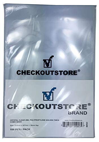 (300) CheckOutStore Crystal Clear Golden Age Comic Book Bags (Non-sealable Flap/Thick)
