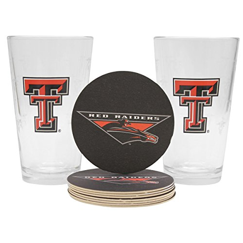 NCAA Pint Glass and Coaster Set (2 Pack) (Texas Tech Red Raiders) (Glass Texas Tech Raiders Red)