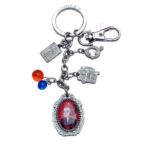 Disney Pewter Key Ring - Charms - Red Queen, Q. Logo and Beads