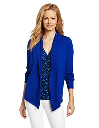 Chaus Women's Solid Open Front Cardigan, Electric, Medium