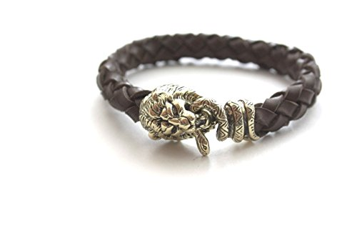 Viking Bracelet Lion Snake Bronze Leather Vintage Handmade (17)