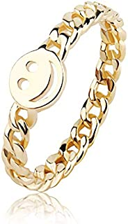 YeGieonr Gold Smiley Face Ring Happy Face Ring with Cute Chain Link Good Luck Stackable Rings for Women