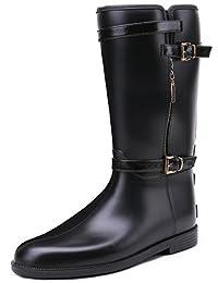 TONGPU Women's Comfort Buckle Round Toe Waterproof Tall Rain Boots