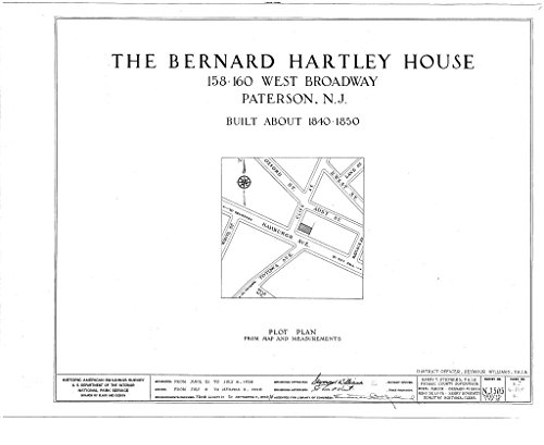 Historic Pictoric Blueprint Diagram HABS NJ,16-PAT,4- (Sheet 0 of 13) - Bernard Hartley House, 158-160 West Broadway, Paterson, Passaic County, NJ 14in x 11in]()