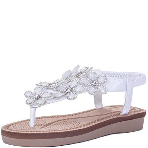 Flip Flop Flat Sandals Shoes White Leather Style SZ (White Flower Sandals)