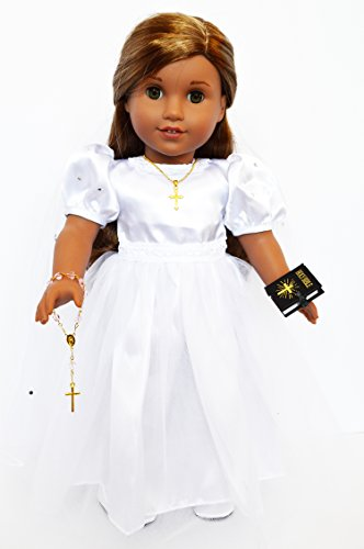 (Brittany's My 6 Piece Sparkle Sleeve Communion Gown Compatible Fits American Girl Dolls- 18 Inch Doll Communion Dress with Accessories - 18 Inch Doll Clothes for American Girl Dolls)