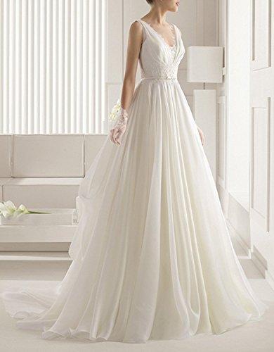 Elfenbein Lange Schiere Spitze Brautkleider Herzförmiger Ausschnitt Hochzeitskleid V Mingxuerong wY6q88