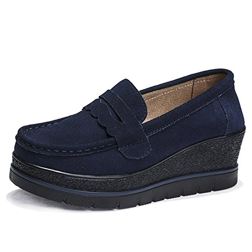 HKR-775shenlan38 Women Slip On High Platform Wedge Fashion Sneakers Round Toe Suede Penny Loafers Shoes Dark Blue 7 B(M) US (Blue Platforms)
