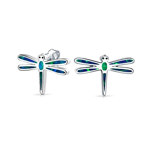 Blue Created Opal Garden Insect Summer Dragonfly Stud Earrings For Women For Teen 925 Sterling ()