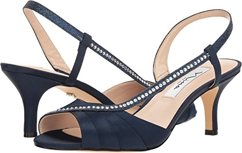 NINA Women's Cabell Heeled Sandal, New Navy, 9 M US