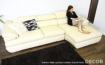 amazon co jp lether couch sofa decor ホワイト 左タイプ カウチが
