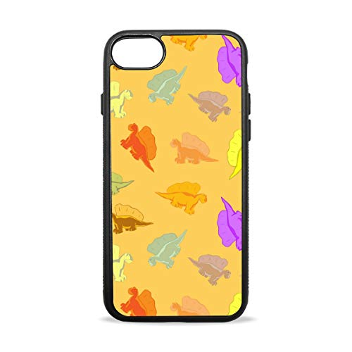 (Yellow Dinosaur Wrapping Paper Case Compatible with iPhone7 / 7plus & / iphone8 / 8plus Soft Shell Scratch-Resistant Anti-Fingerprint Black)