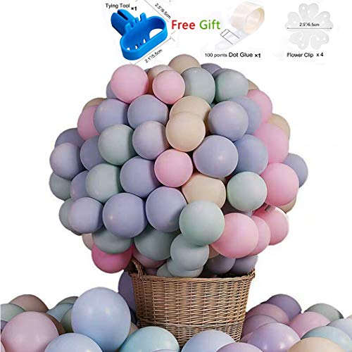 Pastel Latex Balloons 100pcs 10 Inches Assorted Macaron Candy Colored Party Balloons for Wedding Graduation Birthday Christmas Baby Shower Party Decoration - Multicolor