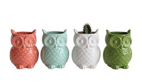 Stoneware Owl Shaped Magnetic Vase, Set of 4