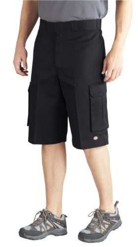 Dickies Men's Big 13 Inch Loose Fit Twill Cargo Short, Black/Black, 46