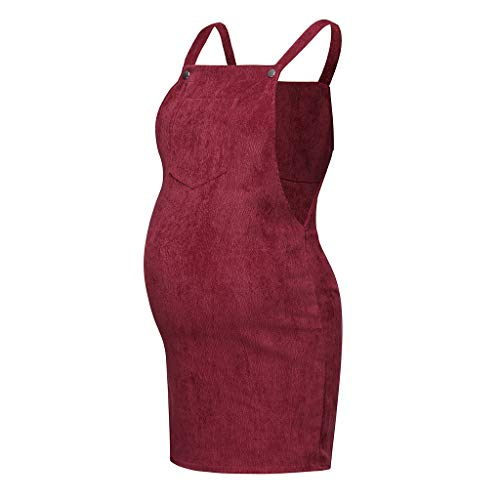Women's Maternity Corduroy Suspender Bib Dress,Pregnanty Pinafore Pocket Bodycon Overall Dresses (XL, ()