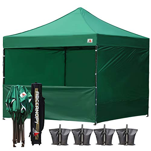 ABCCANOPY 10-feet by 10-feet Festival Steel Instant Canopy, Commercial Level, with Wheeled Storage Bag, 6 Removable Zipper End Walls, Bonus 4X Weight Bag Forest Green