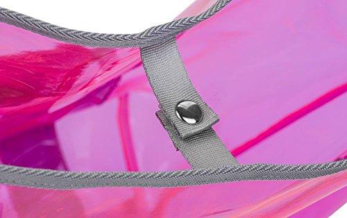 Transparente Tasche solarbetriebene Ladegerät Schulter Strandtasche Rosa
