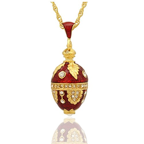 MYD Jewelry Enamel Handmade Leaf Design Russian Egg Faberge Style Pendant Necklace (Red)